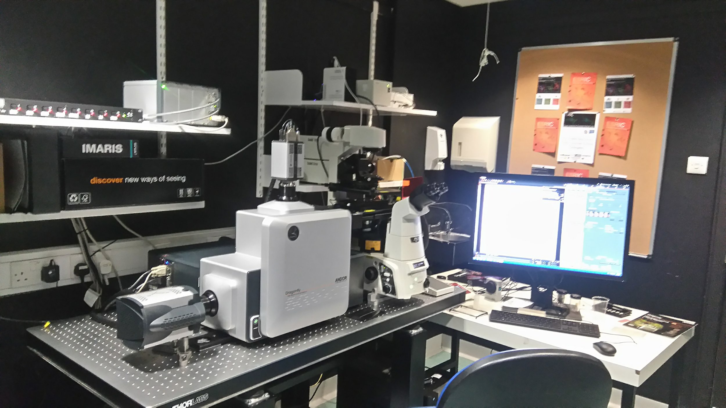 Cost   £30 p/h    Name  Dragonfly   Room  CG18   Manual   Here    Modality  Spinning disk confocal   Fluorophores,  DAPI, CFP, GFP, YFP, RFP, AF647, iRFP/AF700 + BF   Manufacturer  Andor   Objectives  20x, 40x, 60x, 100x   Software  Fusion   Application  Live imaging, 3D imaging, large tile imaging     Offline viewing software:   Here    Technical specs for publications:   Here